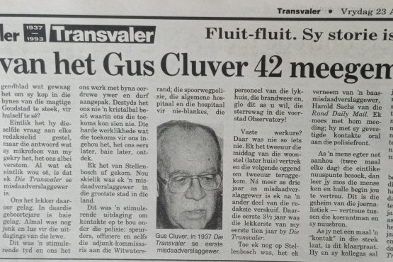 GUS CLUVER: VERTROUE WAS SY WAGWOORD